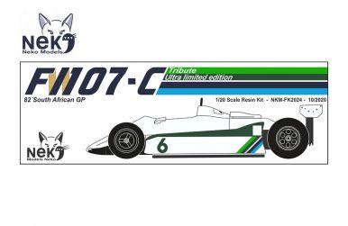 Williams FW07C South African Grand Prix 1982 1/20. Neko Models - NEK-FK2024