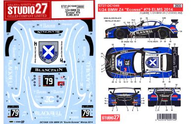 "BMW Z4 ""Ecurie Ecosse"" Blancpain Series 2014 Decal 1/24 - Studio27 - ST27-DC1049"