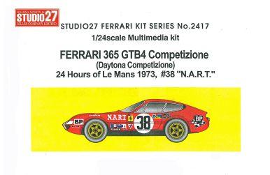 """Ferrari 365 GTB4 #38 """"N.A.R.T."""" Le Mans 1973 1/24 - Studio27 - ST27-FR2417"""