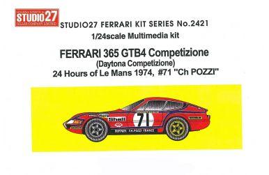 "Ferrari 365 GTB4 #71 ""Ch. Pozzi"" Le Mans 1974 - Studio27 - ST27-FR2421"
