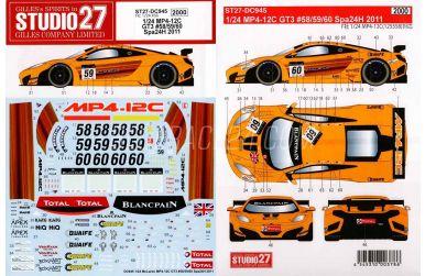 McLaren MP4-12C GT3 Spa 2011 1/24 - Studio27 - ST27-DC945