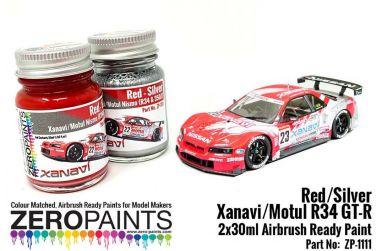 Xanavi/Motul Nismo (R34 & 350Z) Red/Silver Paint 2x30ml - Zero Paints - ZP-1111